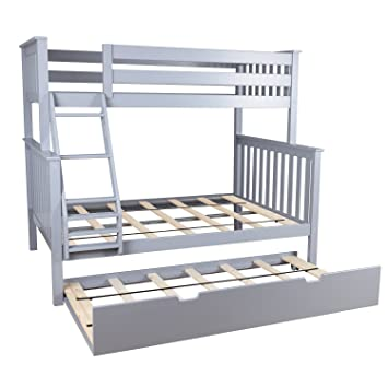 Amazon Com Max Lily Solid Wood Twin Over Full Bunk Bed With