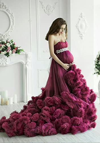 Amazoncom Maternity Ruffled Tulle Dress Photoshoot Maternity Gown