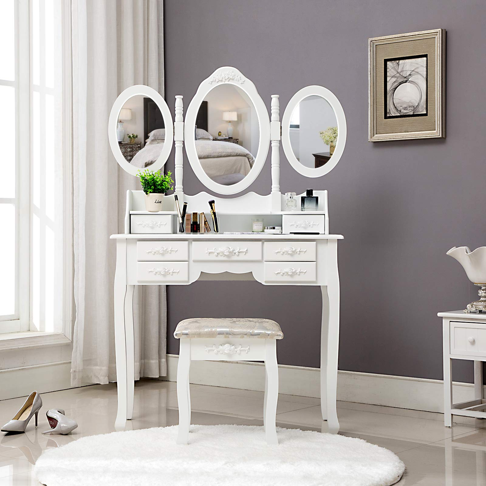 HONBAY Trifold Mirrors Makeup Vanity Table Set, Cushioned Stool and Surprise Gift Makeup Organizer with 7 Drawers Dressing Table (White) by Honbay