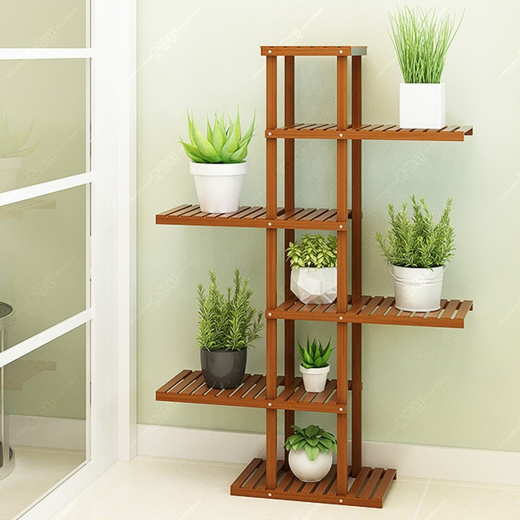 5 tier NYDZDM Flower Stand Living Room Balcony Flower Shop Display Stand, Bouquet Floor-Standing Multi-Layer Wooden Flower Stand, Bamboo Assembly Flower Storage Shelf (Size   3 Tier)