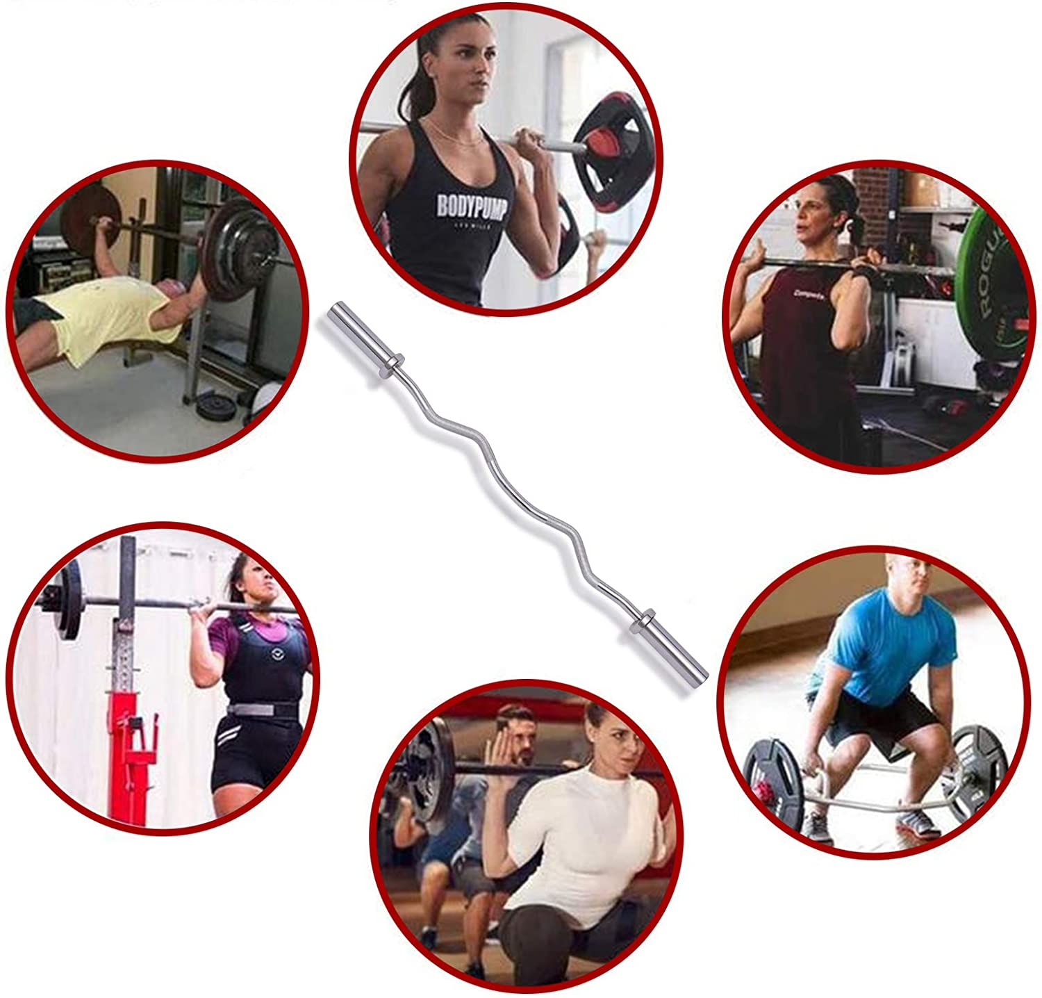 QUECAOCF 5//6//7 FT Olympic Barbell Bar Weight Bar Solid Iron Weighted Workout Barbell Weight Straight Weightlifting Technique Bar for Home Fitness Exercise Equipment