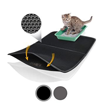Bella & Balu XXL Alfombrilla Gato con diseño Panal - Alfombra Lavable con Fondo higiénico para Gatos ...