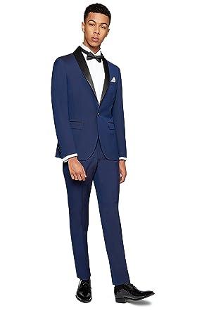 0be2e8c3a Moss London Men s Slim Fit Blue Tuxedo 2 Piece Suit 38L  Amazon.co ...
