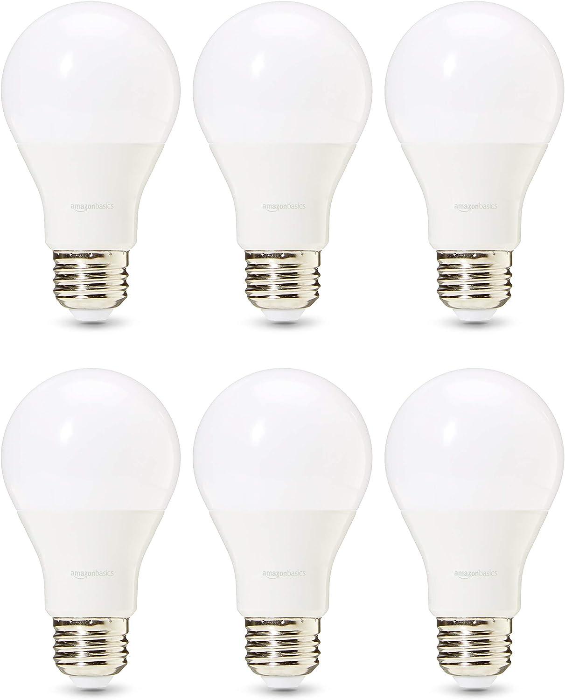 AmazonBasics Commercial Grade 25,000 Hour LED Light Bulb | 60-Watt Equivalent, A19, Daylight, Dimmable, 6-Pack