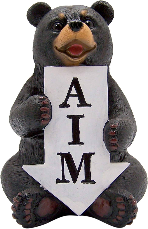 Black Bear Figurine Holding Aim Arrow Sign for Toilet, Funny Bathroom and Home Decor, 6 Inch