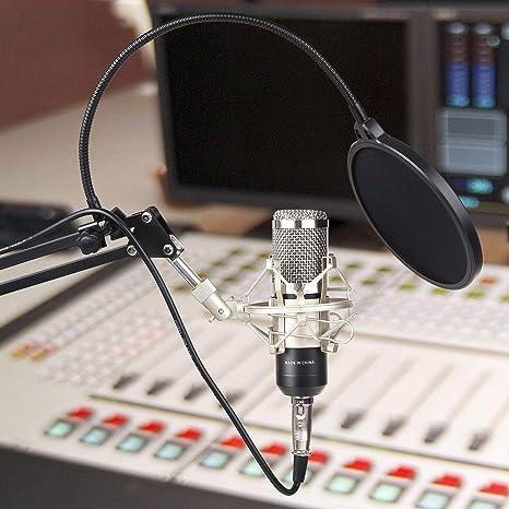 MVPOWER Set de Micrófono de Condensador para Estudio, Radiodifusión, Grabación, Canto, Chat en Línea, Soporte de Brazo de Tijeras de Suspensión Cable ...