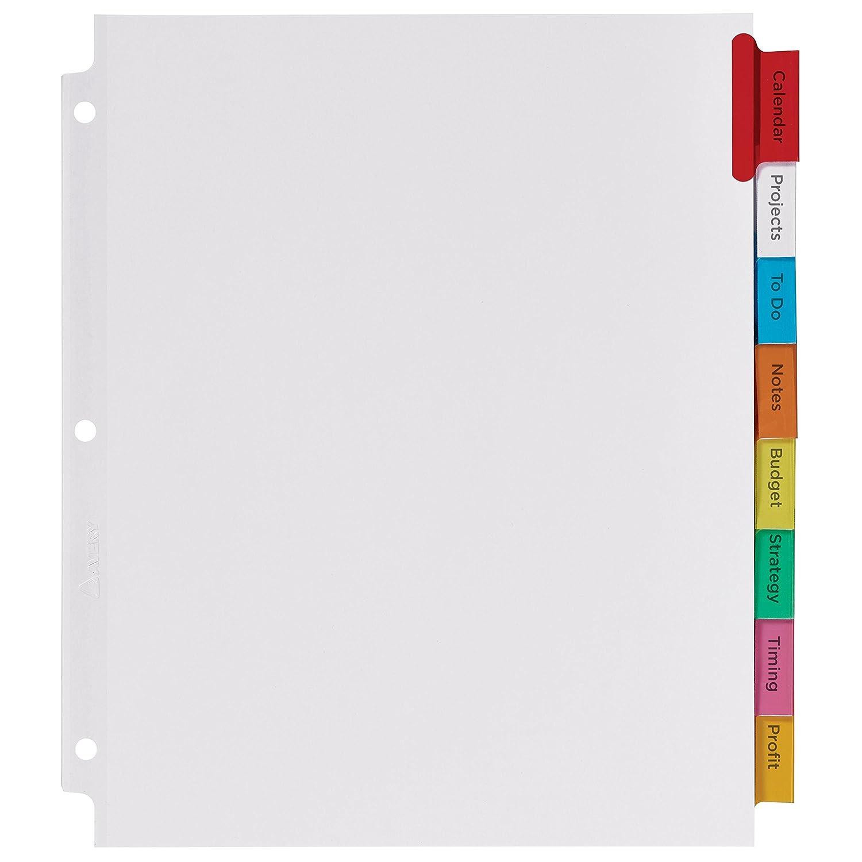 Avery Big Tab Extra amplia divisores insertables, 8 Multicolor Set pestañas, 1 Set Multicolor (11222) c34c84
