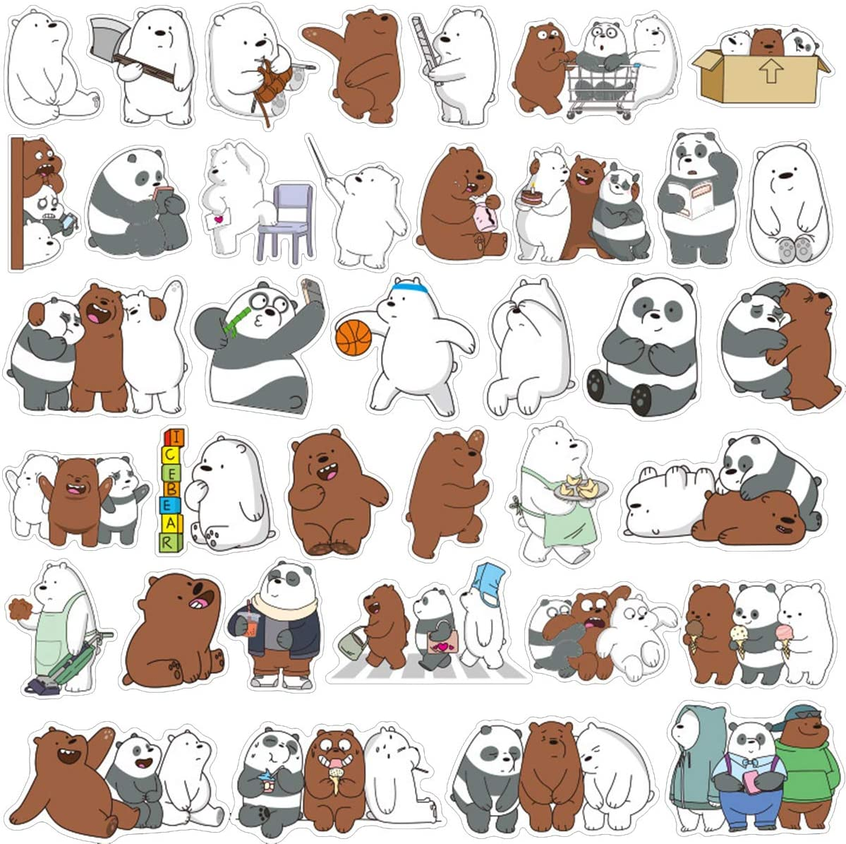 We Bare Bears Laptop Stickers Waterproof Skateboard Pad MacBook Car Snowboard Bicycle Luggage Decoration(36pcs)
