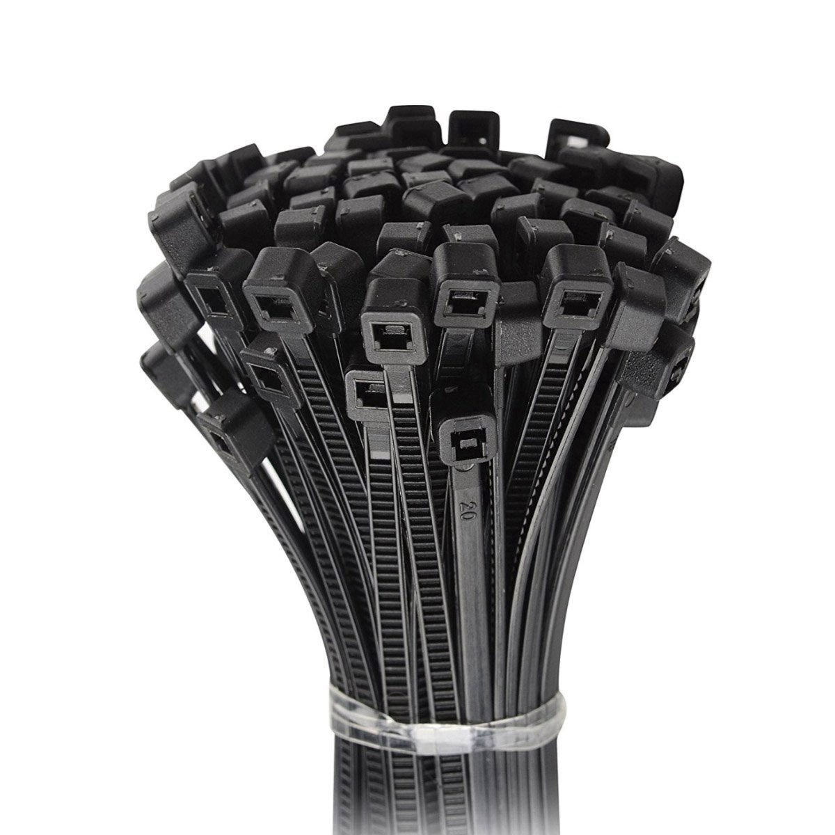 Besmelody Nylon Cable Ties 8mm x 300mm // 0.3 x 12 inch Ultra Strong Plastic Wire Wraps UV Resistant 250pcs -Black Self-Locking Cable Ties,