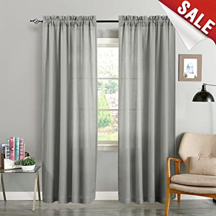 Grey Curtains For Living Room 84 Inches Long Window Curtain Panels For  Bedroom Casual Weave Textured