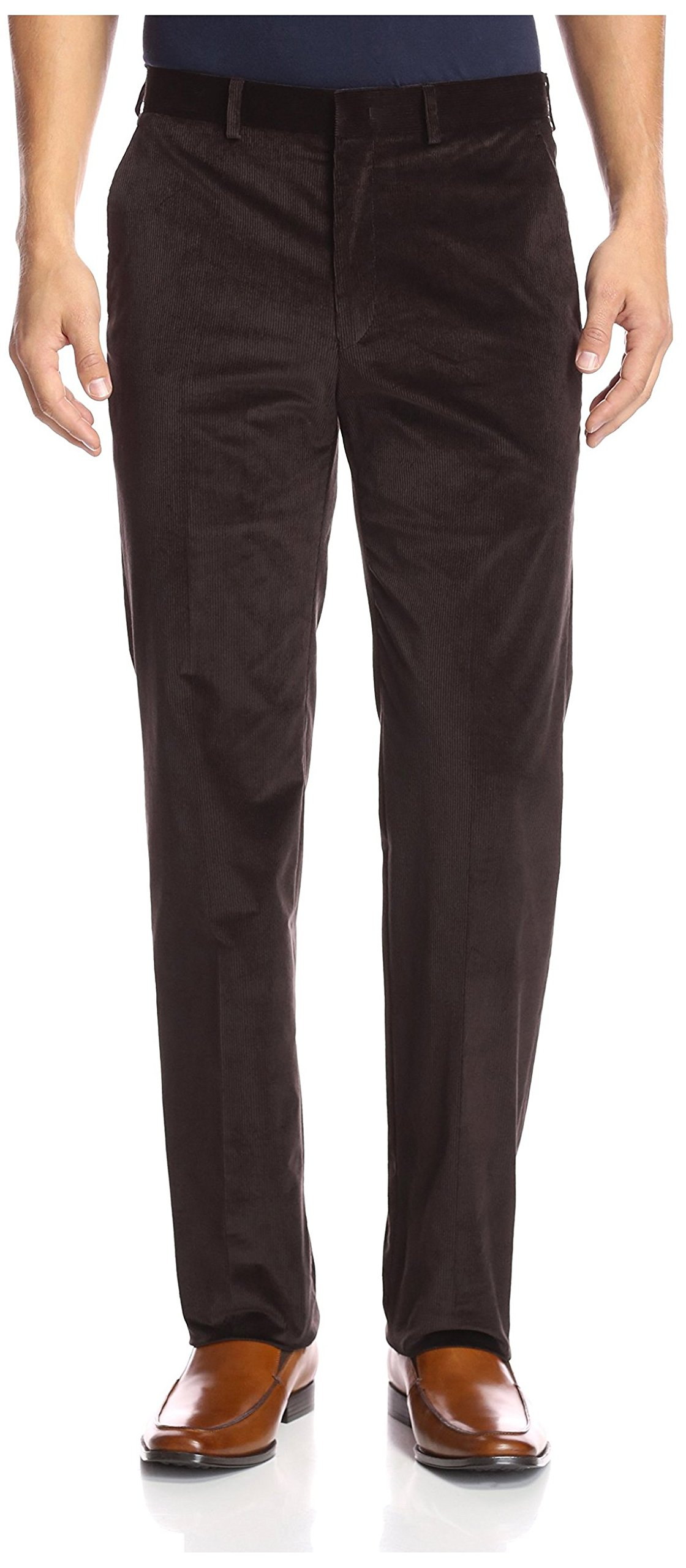 Franklin Tailored Men's Flat Front Corduroy Tyler Trouser, Brown, 34 US
