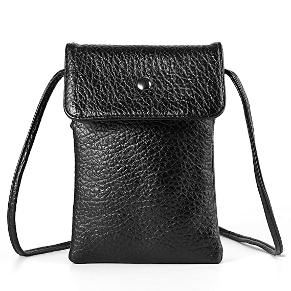 Black Women s Vertical Texture PU Leather Shoulder Bag Wallet Purse for  Apple iPhone X   8 02570e250