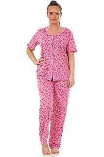 921030c0c1 Ladies Pyjama Set Cotton Blend Floral Print Short Sleeve Button Pocket  Nightwear