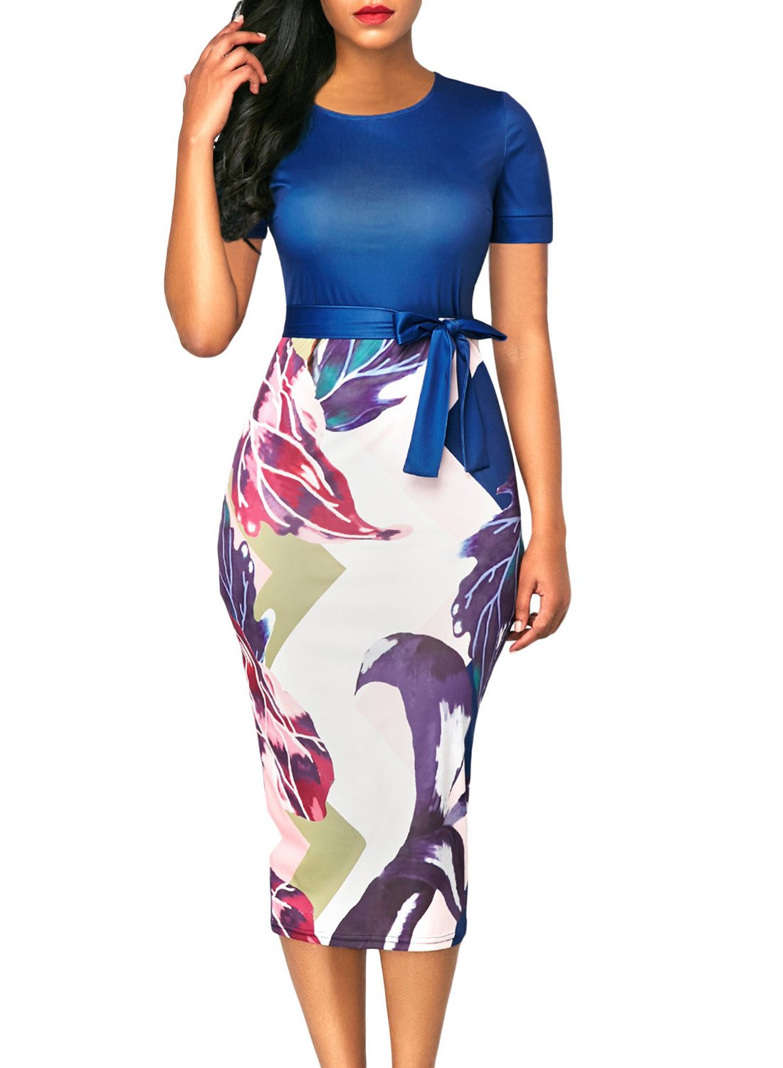 Happy Sailed Women Short Sleeve Patchwork High Waist Print Midi Print Business Dresses, XX-Large Blue