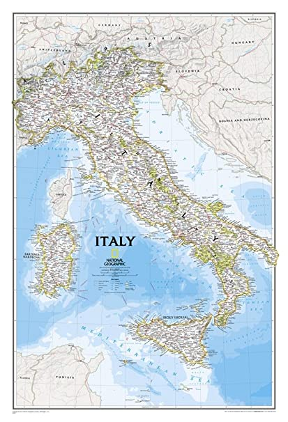 Basic Map Of Italy.Amazon Com Italy Map Map Type Laminated Office Products