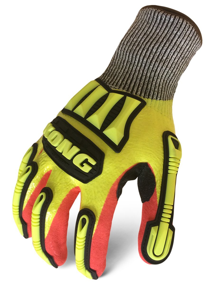 Ironclad MKC5-03-M Kong Knit Cut 5 Refinery Gloves, Medium, Yellow/Red