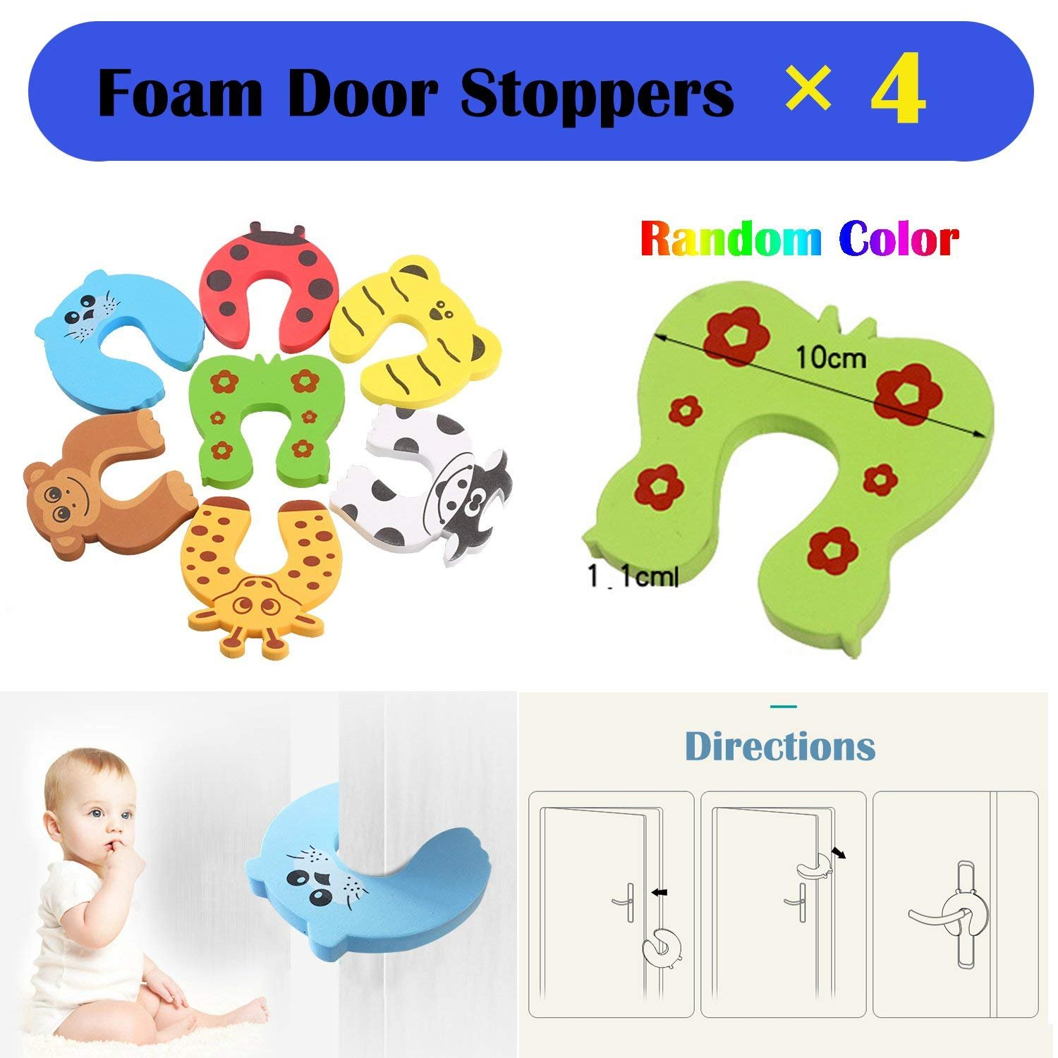 Baby Safety Proofing Kits (56 Pack) 20Pcs Outlet Covers +6Pcs Child Safety Proofing Cabinet Locks+ 20Pcs Corner Protector Edge Guard+ 6Pcs Children Cupboard Locks + 4Pcs Kids Safety Foam Door Stoppers by HOMER (Image #9)