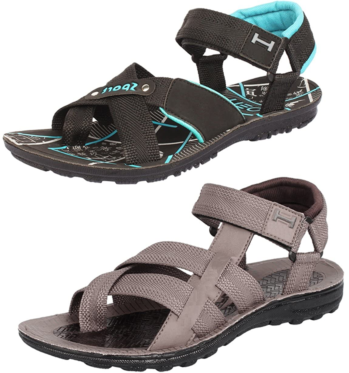 049eea74d3f5c Maddy Men's Perfect Stylish 2 Brown & Sea Green Casual Sports Sandals (10):  Buy Online at Low Prices in India - Amazon.in