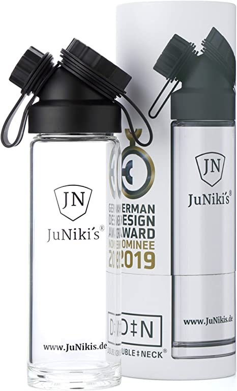 juniki s glass bottle 550 ml 18 oz drinking bottle made of borosilicate glass for on the go with a large opening suitable for carbonated acid amazon co uk sports outdoors amazon co uk