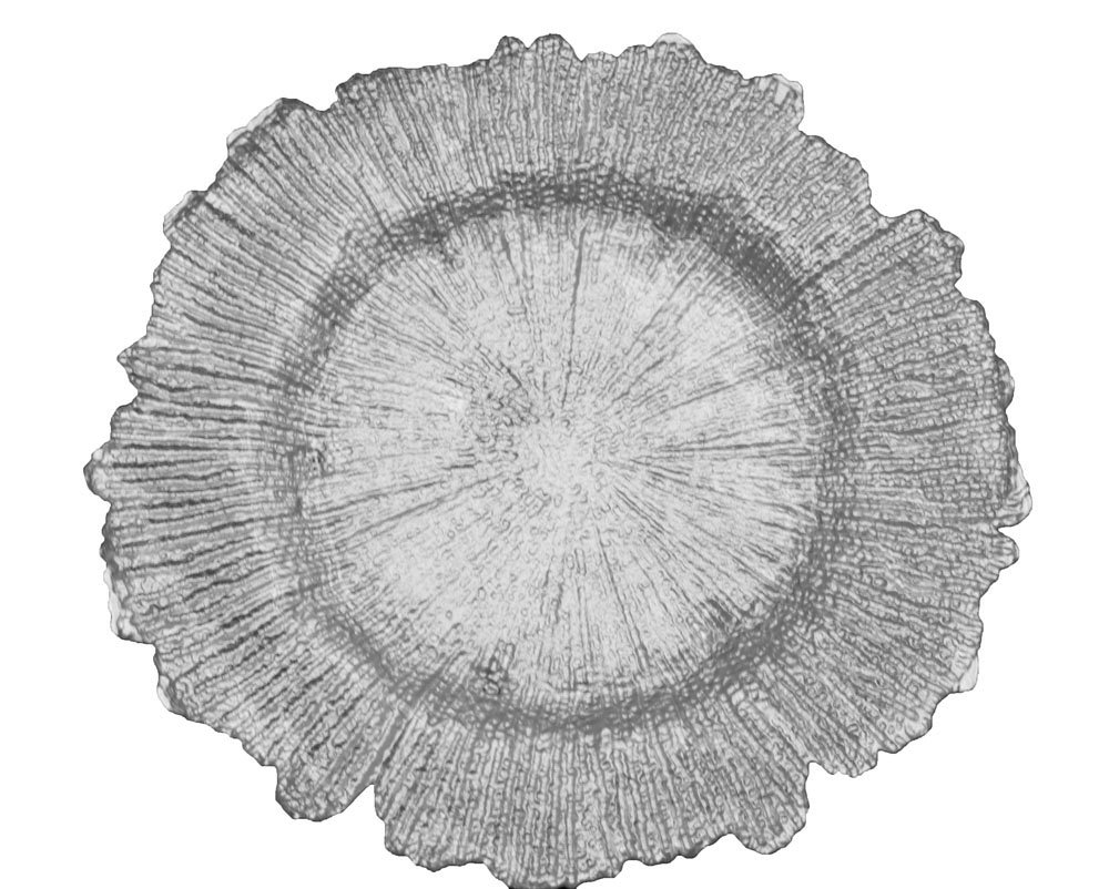 12 Pk, Reef Glass Charger Plate Approx. overall 13'' diameter with center 8'' diameter - Silver