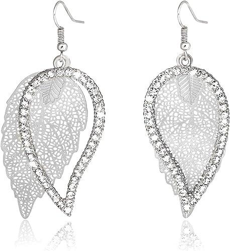 Long Leaf Drop Earrings Silver Diamante Crystal Rhinestone Dangle Sparkly Party
