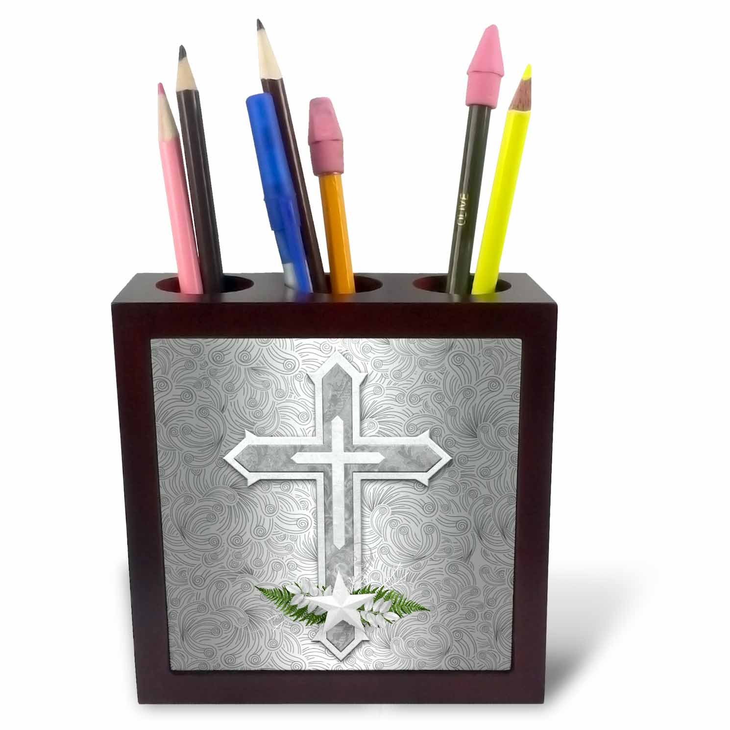 3dRose Doreen Erhardt Inspirational - Christian Cross in Silver and White with Star and Fern Leaves - 5 inch tile pen holder (ph_264280_1)