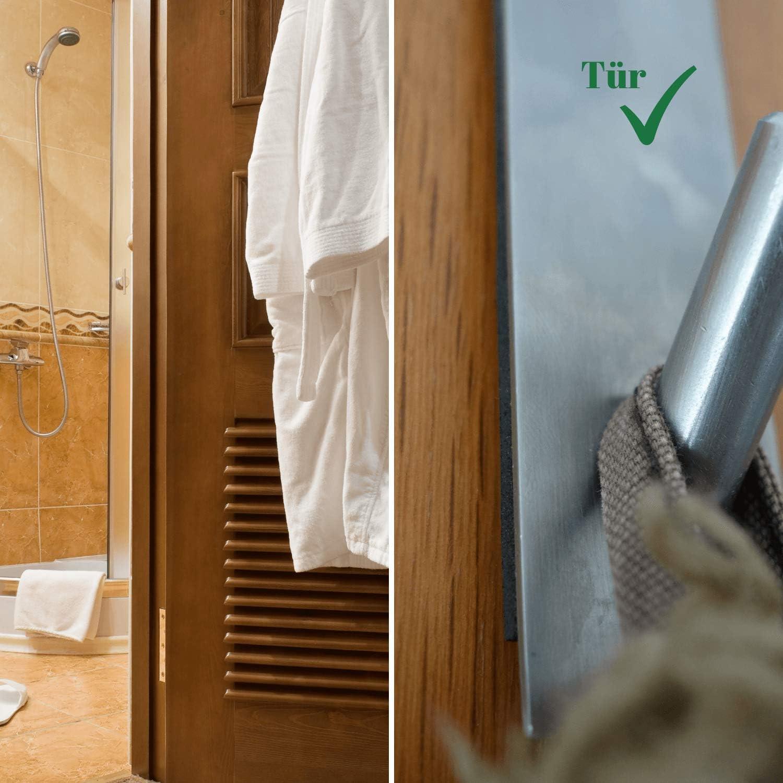 Klug T/ürhaken aus Edelstahl 4 St/ück Set viel Platz f/ür allerlei Jackenhalter Handtuchhaken Stilvolle T/ürgarderobe mit Schaumstoff Schutz
