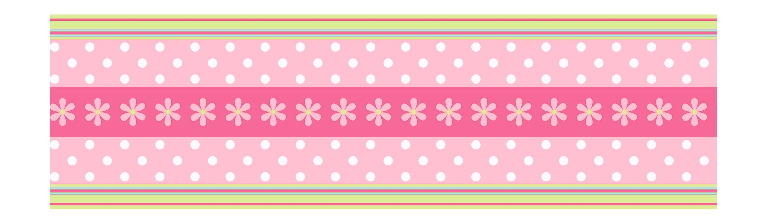 York Wallcoverings Candice Olson Kids CK7720B Daisy Ribbon Border, Pink/Green