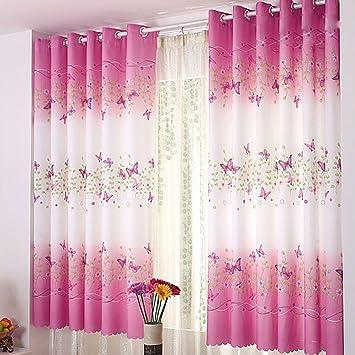 Amazon De Rokfscl Fenstervorhang 200 Cm X 100 Cm Schmetterling Blumen Bedruckt Fur Kinderzimmer