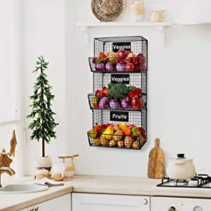 HabiLife 3 Tier Metal Wire Baskets with Removable Chalkboards , Large Capacity Wall Mounted Hanging Wire Baskets Vegetable Storage Organizer for Kitchen, Toiletries, Bathroom