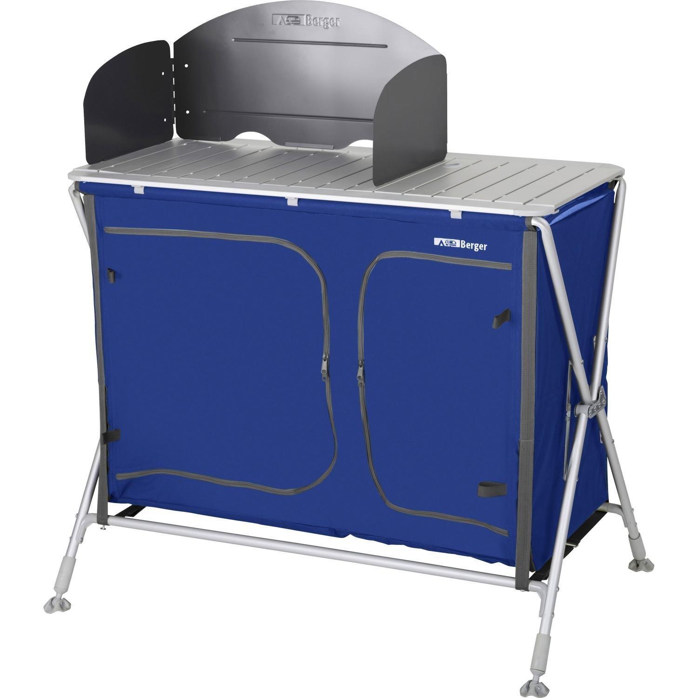 Berger Campingküche Küchenbox Pablo mit Spüle, blau, Füße ...