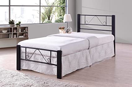 Amazon.com: Black Metal Platform Bed Frame Twin Size, Headboards and ...