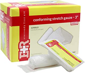 Ever Ready First Aid Sterile Conforming Gauze Roll Bandage - Box of 12-3 inch