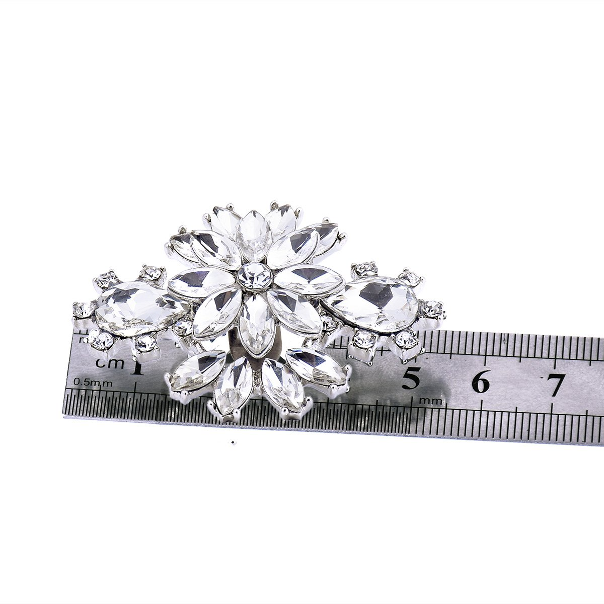 ElegantPark AK Wedding Dress Clutch Double Rhinestones Flowers Silver Shoe Clips 2 Pcs by ElegantPark (Image #6)