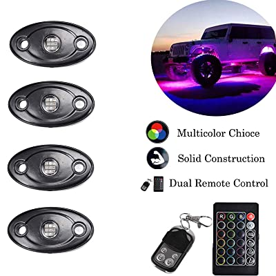 NBWDY 9W RGB Led Rock Lights With 4Key RF & IR RGB Controller,18 Color Jump,Vioce Control for Off Road, Truck,SUV,ATV, Motorcycle: Automotive