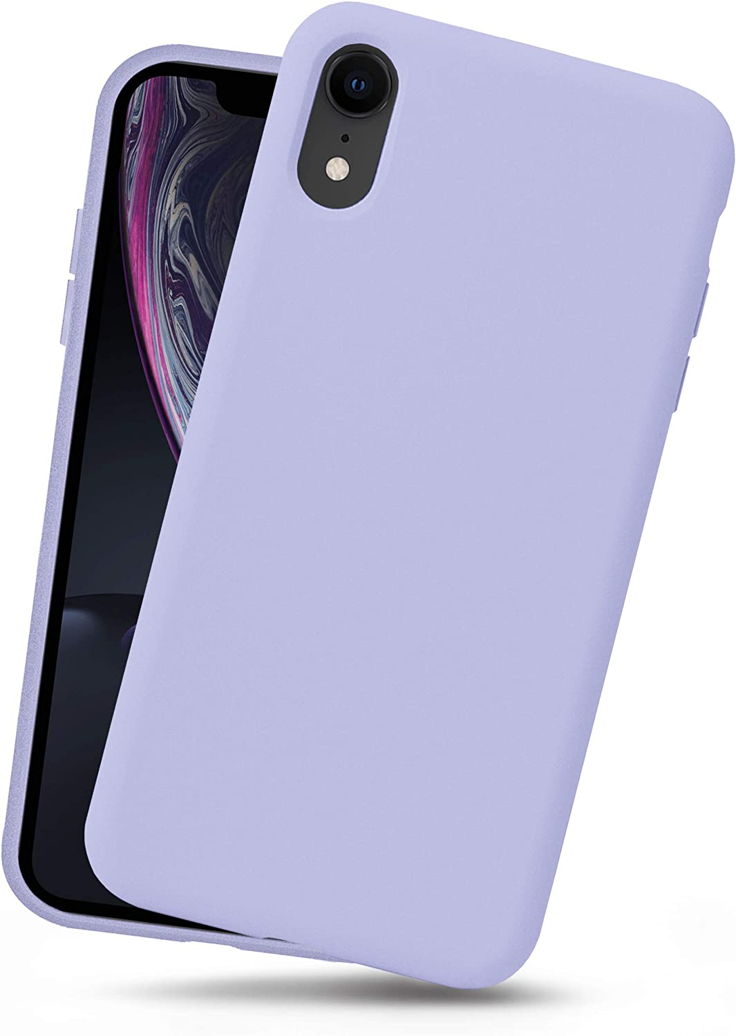 OCOMMO iPhone XR Silicone Case, Full Body Shockproof Protective Liquid Silicone XR Cases with Soft Microfiber Lining, Wireless Charge Pad Compatible, Pale Purple