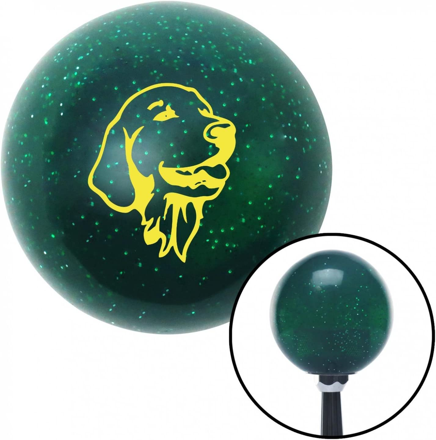 American Shifter 64031 Green Metal Flake Shift Knob with 16mm x 1.5 Insert Yellow Golden Retriever