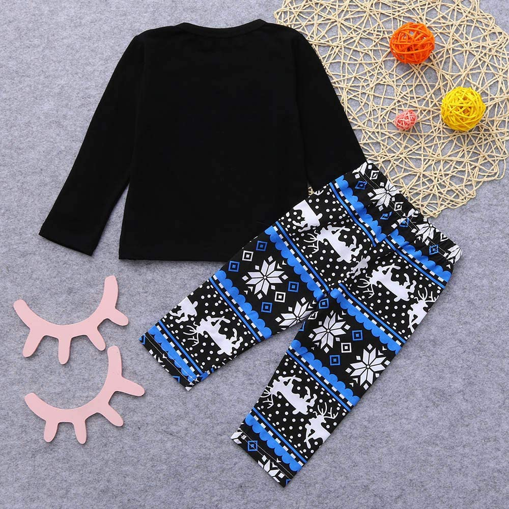 Baby Christmas 2Pcs Outfit Set Boys Girls 0-24 Months,Fashion Casual Letter Snowflake/Top Patterns/Pant Set