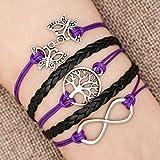 LovelyJewelry Leather Wrap Girls Butterfly Infinity Love Family Tree of Life Rope Wristband Bracelets