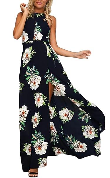 b7e285d2e Mujer Vestidos Largos De Verano Elegantes Casual Vintage Flores Lindo Chic  Estampado Vestido Playa Sin Mangas Talle Alto Sin Espalda Fashion con  Aberturas ...
