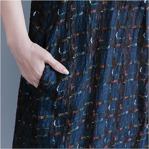 88c297604e15d Dinier Women s Cotton Linen Plus Size Irregular Checkered Button A-Line  Long Shirt Dress  Amazon.co.uk  Clothing