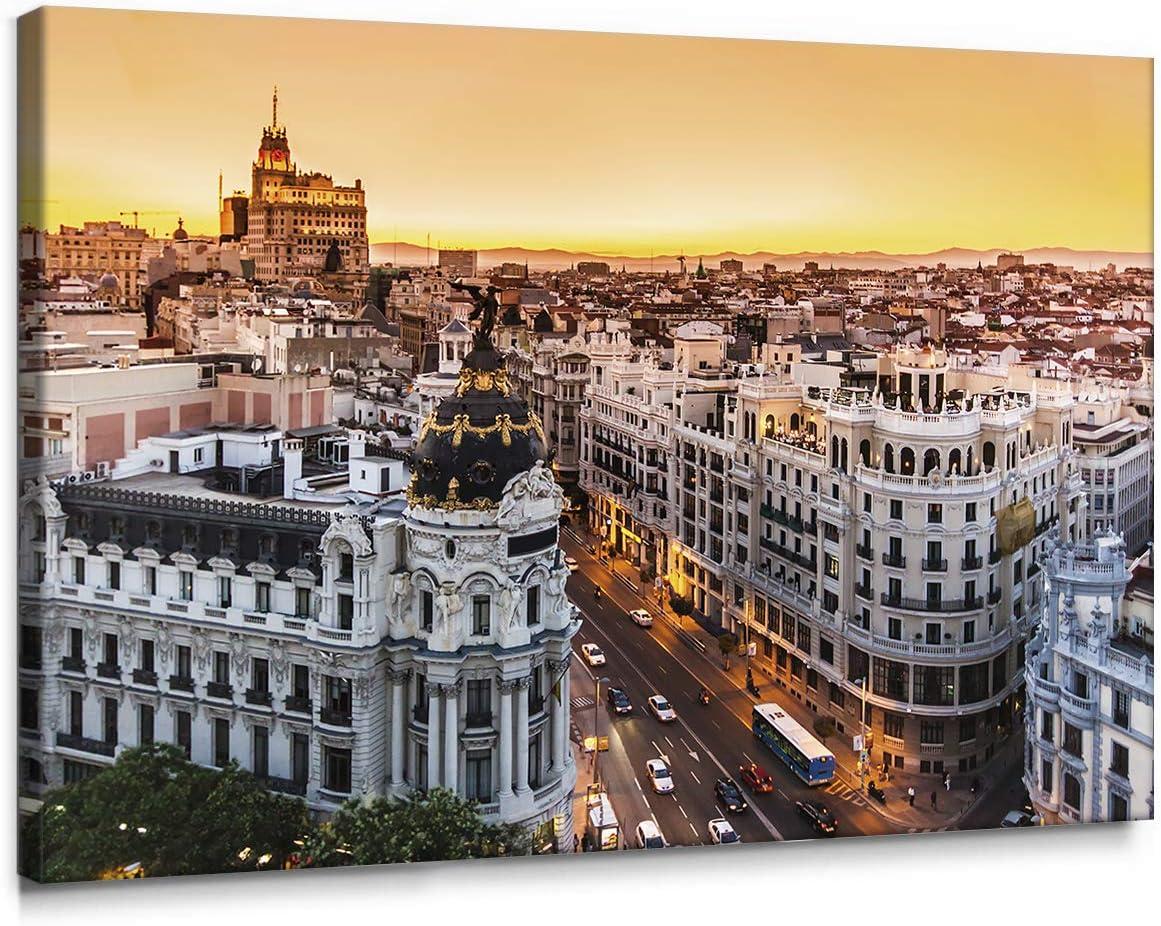 Cuadro de Gran Vía de Madrid en Lienzo de 100 x 70 cm, Decoración para Pared de Salón, Dormitorio y Oficina, Impreso en Lienzo y Enmarcado sobre Bastidor de Madera, L-09