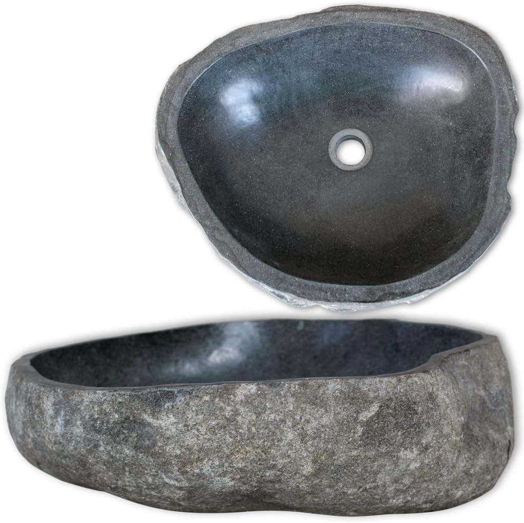 vidaXL Lavabo Rústico Forma Ovalada Piedra Río Natural 38-45 cm Lavamanos Baño