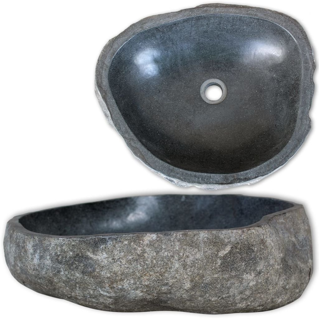vidaXL Wash Basin Natural River Stone 14.9 -17.7 Washbowl Bowl Sink Washroom