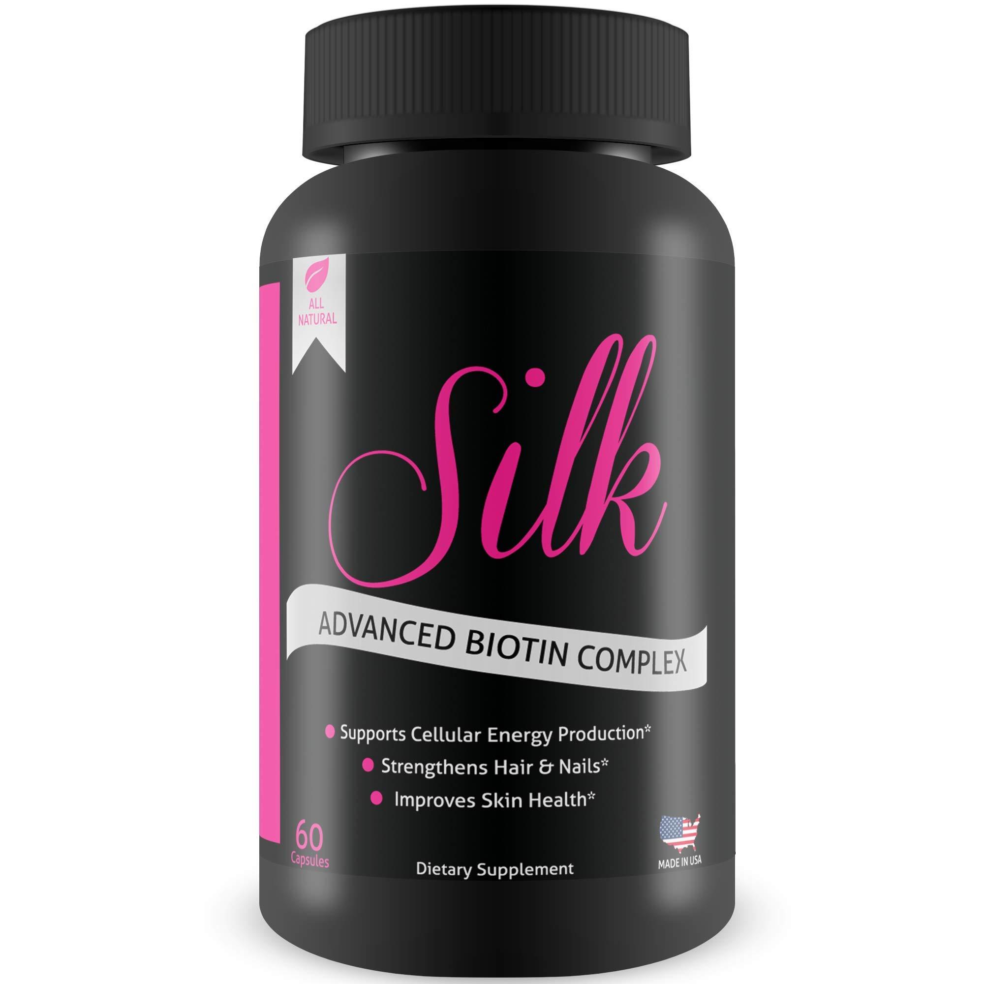 Silk Advanced Biotin Complex- Promotes Stronger, Longer, Hair-Healthier Skin- Ultimate Nail Strength