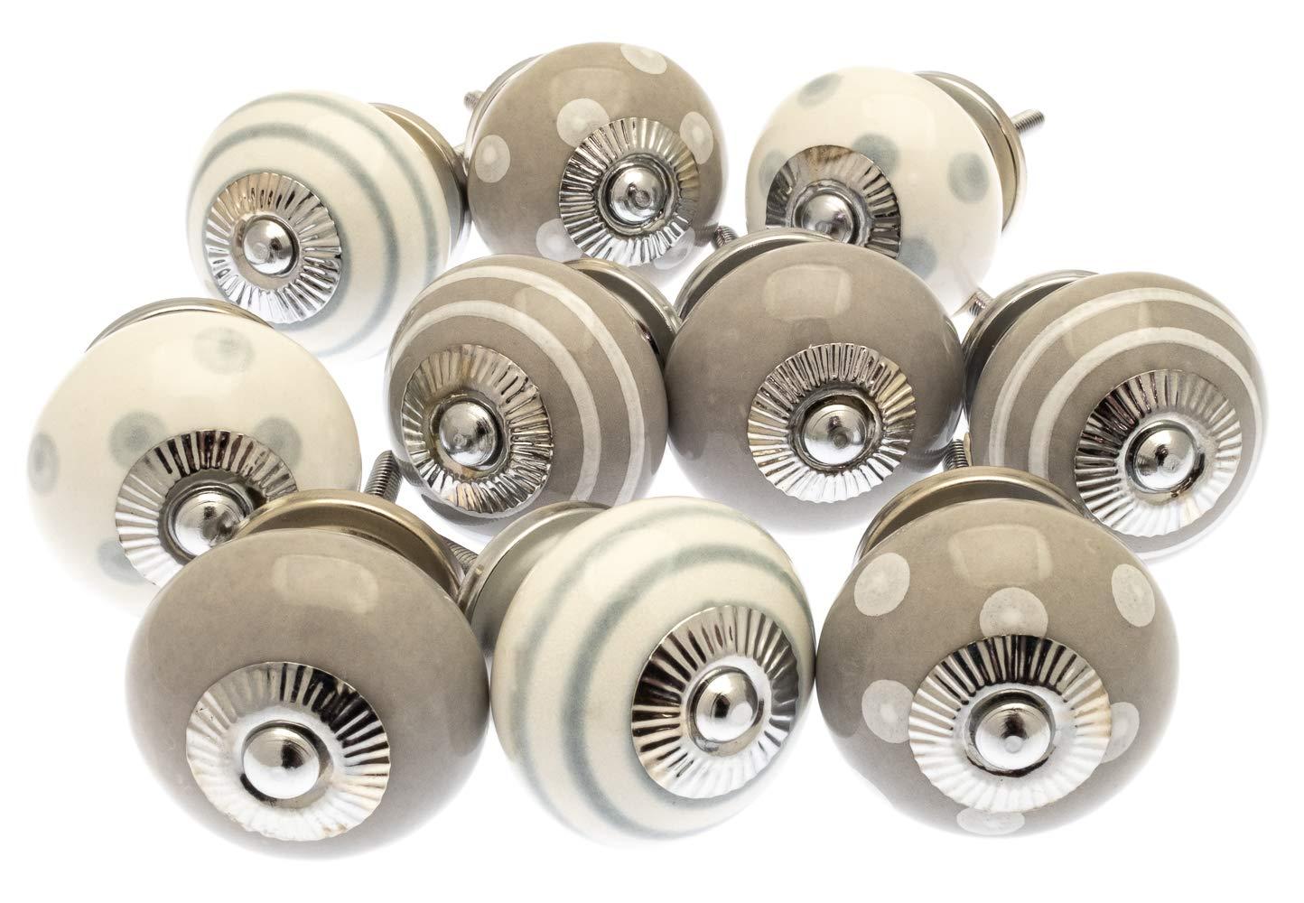 Mango Tree MG-279 Assortiment de 10 boutons de placard en c/éramique Gris et blanc Pois et rayures