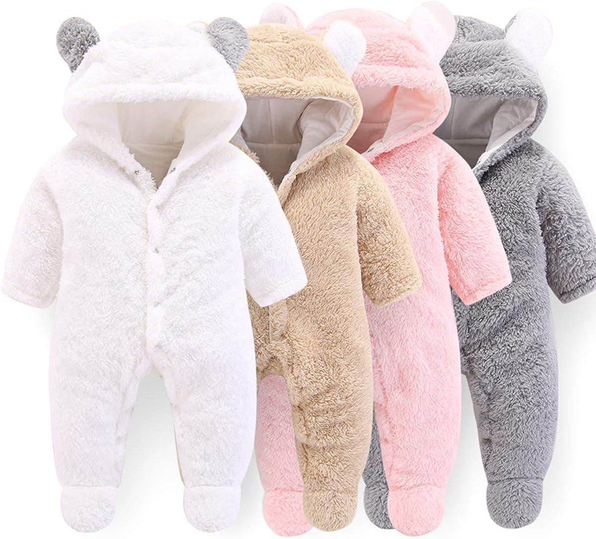 Haokaini Baby-Strampler mit Kapuze und B/ärenw/ärmer aus Baumwolle und Fleece