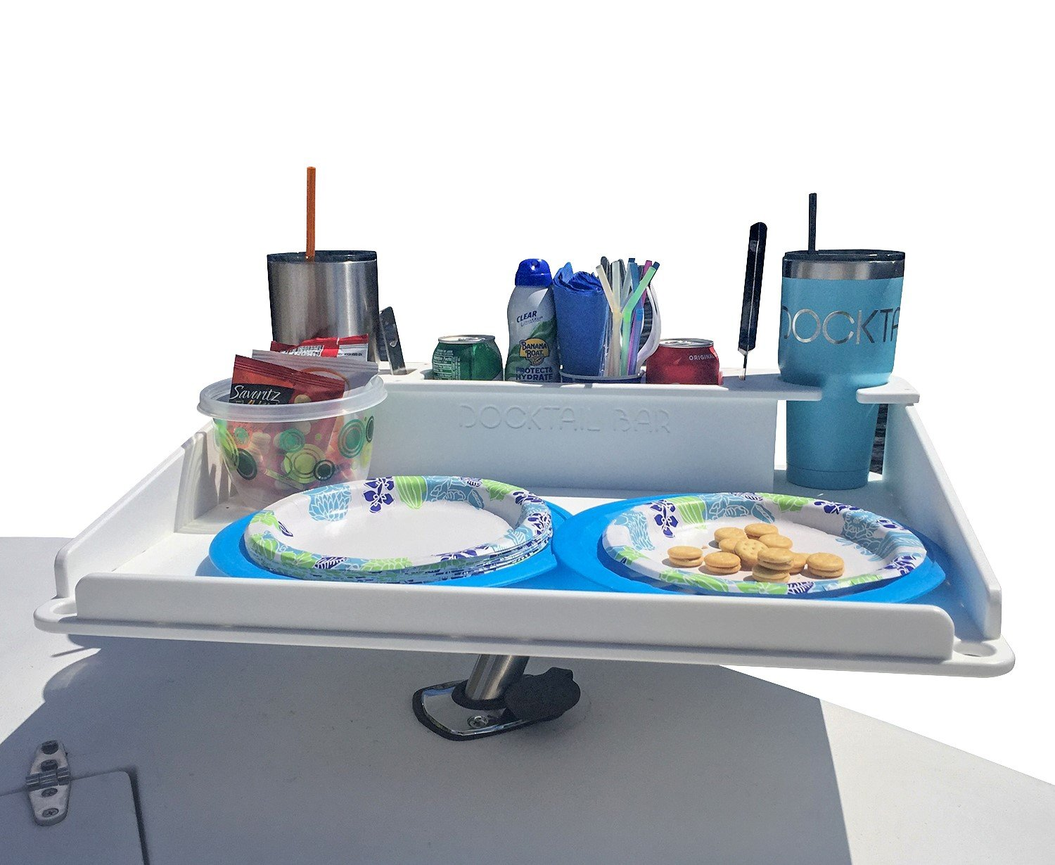 Docktail Bar Boat Utility Table with Cup Holders and Storage - Mounts in Rod Holders - Package Includes Fully Adjustable Rod Holder Mount - Perfect Boat & Marine Grill Accessory - Portable by Docktail® Bar