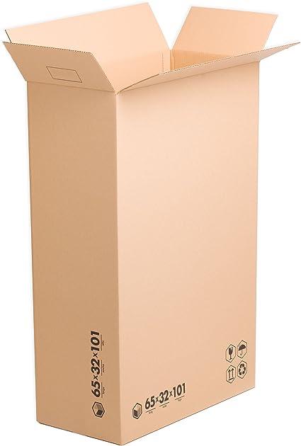x10) Pack Cajas de Cartón Altas 65x32x101 cms | TeleCajas: Amazon.es: Oficina y papelería