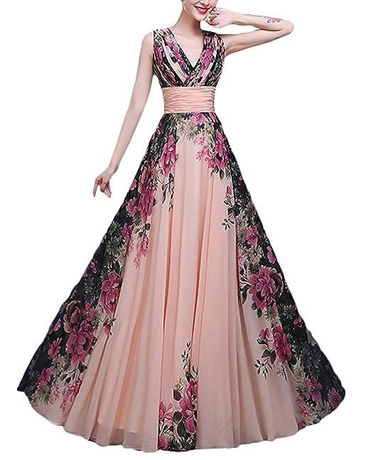Adelina Mujer Vestidos De Fiesta para Bodas Elegantes Vintage Gasa Estampados De Flores Vestidos Largos Sin
